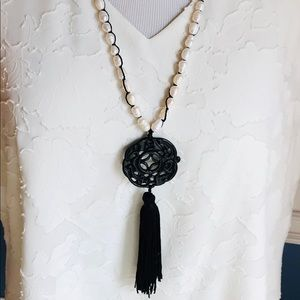 Chico's Asian Necklace w Pearls, Pendant & Tassel